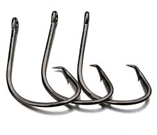 50pcs Fishing Hooks Black Color Sport Circle Fish Hook Jig Big 1#-5/0# Size Bass
