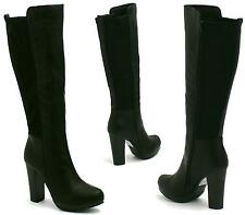 WOMENS BLACK KNEE HIGH BOOTS LADIES PARTY HIGH HEEL STRETCH PLATFORM SHOES