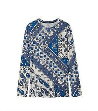 $125 New TORY BURCH BLUE IVORY PRINTED COTTON JERSEY LONG-SLEEVE T-SHIRT XS