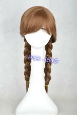 wg14 movie Frozen Anna Custom Wig Cosplay Costume Snow Queen Anime brown