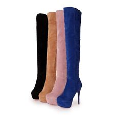 Sexy Womens Side Zip Thigh High Boots Platform High Heel Over The Knee Boots New