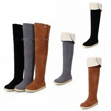 Retro Womens Over The Knee Thigh High Boots Faux Suede Buckel Cuffed Tall Boots