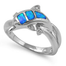STERLING SILVER Lab Opal Ring - Dolphin  band