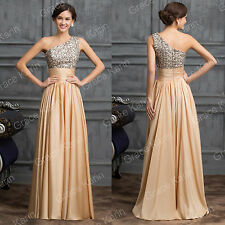 New Sequins One Shoulder Prom Dress Long Formal Ball Party Gown Bridesmaid Dress