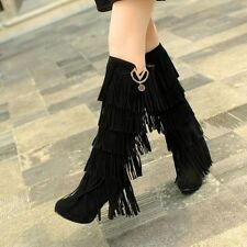 New Womens Faux Suede Tall Boots High Heels Fringe Tassel Knee Boots Plus Sizes