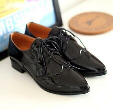 Retro Oxford Women Lace Up Patent Leather Chunky Heel British Style Shoes New