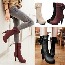 Bowknot Court Lady's Pumps High Heels Shoes Womens Fashion Mid Calf Riding Boots