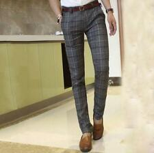 New Mens Fashion Plaid Slim Fit Straight Leg Casual Pants Trousers formal Pants
