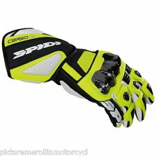 """SPIDI """"CARBO 3"""" MOTORCYCLE RACE TRACK DAY GLOVES FLURO YELLOW """"ROSSI COLOURS"""""""