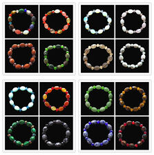 Mixed Gemstone Faceted Drum & Crystal 7inch Elastic Bracelet Z28002