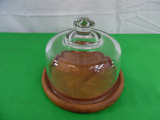Vintage Dolphin Teakwood Cheese Server Tray Glass Dome