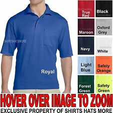 Jerzees MENS Polo Shirt with POCKET Cotton/Poly Blend with SPOTSHIELD- S,M,L,XL