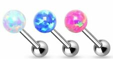 Tongue Rings 316L Surgical Steel Barbell 6mm Synthetic Opal Ball Internally