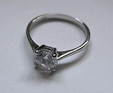 6mm Four Claw Cubic Zirconia solitaire Sterling Silver Ring