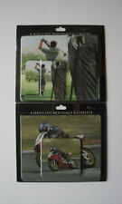 MENS 'GOLF OR MOTORBIKE' DESIGN MOUSEMAT AND COASTER SETS - NEW & PACKAGED