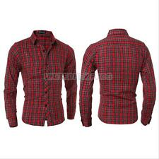 Slim  Mens Luxury Casual Slim Fit Stylish Dress Shirts Long Sleeve Plaids Shirt