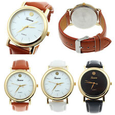 New Luxury Womens Watches Mans Faux Leather Band Analog Quartz Dial Wrist Watch
