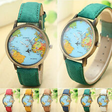 Fashion Global Travel By Plane Map Women Dress Watch Denim Fabric Wrist Watches