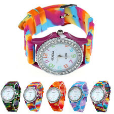 Womens Watches Geneva Silicone Crystal Bling Analog Digital Quartz Wrist Watch