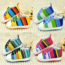 Baby Boy Girl Soft Sole Rainbow Stripes Canvas Sneaker Toddler Shoes Prewalker