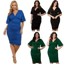 WOMENS COCKTAIL BODYCON FORMAL V NECK MIDI DRESS EVENING PARTY PLUS SIZE PQ3W