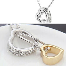 Women Fashion Heart Crystal Charm Pendant Chain Necklace Silver Plated Jewelry E
