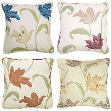 """Kinsale Floral Pair Of 18"""" Cushion Covers Blue Coral Heather Natural Terracotta"""