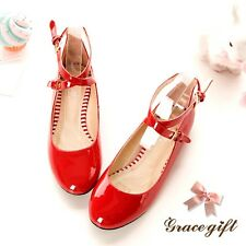 Sweet Women Flat Heel Pump Shoes Mary Jane Patent Leather Loafers Shoes NEW Size