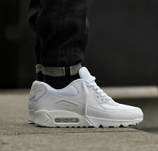New Nike Air Max 90 Triple White Essential Trainers Sneakers Premium OG UK Size