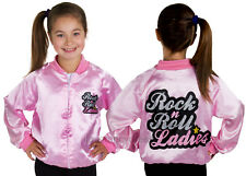 GIRLS ROCK N ROLL LADIES PINK SATIN JACKET 1950'S FANCY DRESS COSTUME MUSICAL