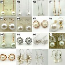 Fashion Pearl Crystal Rhinestone Gold/Silver Plated Earring Stud Jewelry 1 Pair