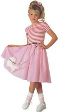 Girls Poodle Skirt Costume 50s Fancy Dress Pink Halloween Purim Child Kids NEW