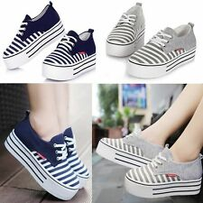 Size Womens Fashion Sneakers Girls Stripe Platform Shoes Lace-up Cusual Canvas