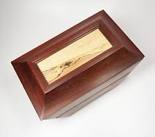 "Handmade Wood Jewelry Box Velvet Lined Padauk & Spalted Maple 13.5"" Wide"