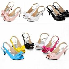 All US Size Women's Ankle Strap Shoes Synthetic Leather Mid Heels Sandals Pumps