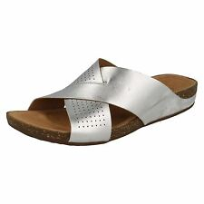 LADIES CLARKS LEATHER CROSSOVER STRAP SLIP ON MULE SUMMER SANDALS PERRI COVE