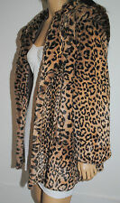 BOUTIQUE NEW FAUX FUR HOODED JACKET GLAMOROUS BEIGE LEOPARD A-LINE SIZE 12 /14