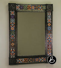 Ceramic Talavera Tile & Punched Tin Metal Mexican Mirror Mexico Handcrafted Wall