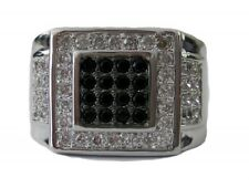 Mens Black Square of Ice Micropave Silver Plated HipHop Bling Ring