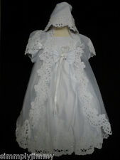 BABY Girl CHRISTENING BAPTISM GOWN DRESS sz 0 1 (6-18 Months) w/bonnet Hat