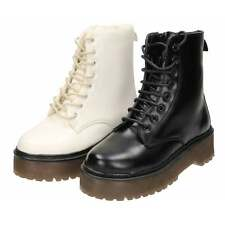 Dolcis Black White Platform Cleated Sole Goth Punk Combat Lace Up Ankle Boots