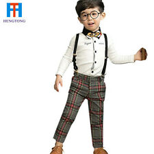 Long sleeve single breasted tie blouse + plaid suspender pants toddler boys sets
