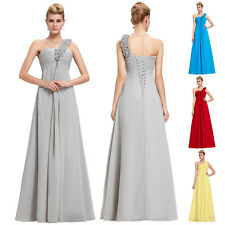 STOCK New Long Chiffon Formal Prom Party One Shoulder Bridesmaid Dress Size 6-20