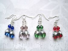 TWISTED OVAL GLASS BEAD Drop Earrings Silver Plated Emerald Green Red Blue Pink