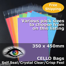 CELLO Bags 350x450mm PP Cellophane Crystal Clear Adhesive Lip #PR350450
