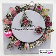 """Bouquet of Flowers"" Pink Authentic Pandora Sterling Silver Chain w/ Charm/Beads"