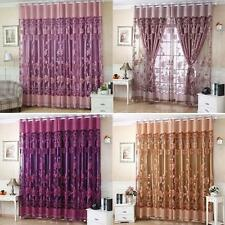 2pcs 100*250cm Floral Pattern Window Curtains Door Voile Drape with Beads F0F9