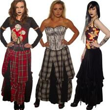 TARTAN BLACK BROWN  VELOUR PARACHUTE SKIRT STEAM PUNK GOTHIC ALTERNATIVE