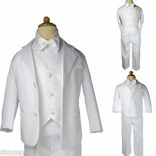BOY Formal Tuxedo w/Vest bow tie Dress Suit set 5pc White size S-XL, 2T-20