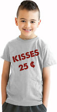 Youth Kisses Twenty-Five Cents T Shirt Cool Valentine's Tee For Kids